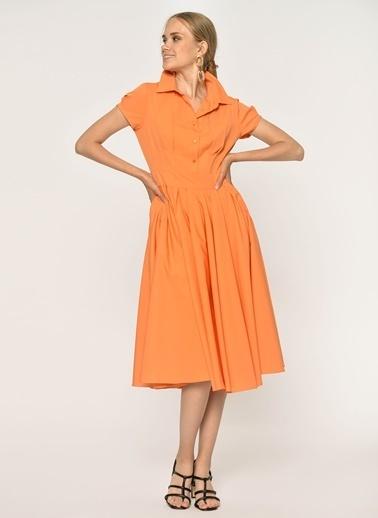 Loves You Poplin Midi Boy Gömlek Elbise Oranj